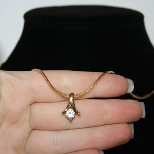 Vintage Jewelry - Beautiful vintage gold and CZ pendant necklace 18""